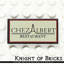 LEGO Minifigure BLACK Chez Albert Restaurant Sign Parisian 10243 Tile 2x4