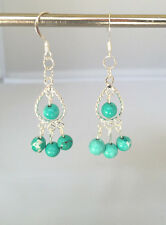 Handmade Turquoise and Silver Plated Chandelier Earrings. 2 inches.