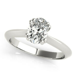 DIAMOND ENGAGEMENT RING D VS2 OVAL SOLITAIRE 0.80 CT 14K WHITE GOLD NEW SHINY