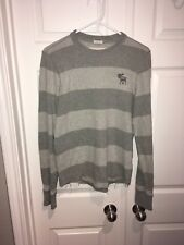 Abercrombie & Fitch Men Cotton SWEATER Top Pullover M Grey Stripped
