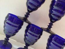 5 Vintage ART DECO RIBBED WATER GLASSES COBALT BLUE GLASS DEPRESSION MANHATTAN