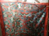 "SARAH COVENTRY Square Scarf 80s Vintage Paisley 29"" X 30"" Red Floral Abstract"