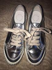 Marc Jacobs Riley Platform Fashion Sneakers, Silver, 9 Us 39 Eu