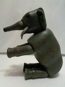 Early Large Schoenhut Circus Jointed Wood Toy Elephant with Glass Eyes