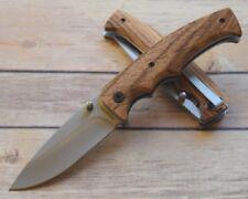 Couteau de Chasse Browning Safari Pliant Acier Inox Manche Bois Liner BR0178