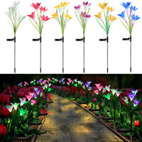 4 LED Solar Power Lily Flower Stake Lights Outdoor Garden Path Luminous Lamps AU