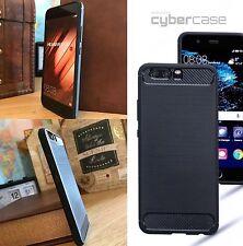 Huawei P SMART  Bumper Impact Resistant Case Oleophobic Carbon Fiber Blue
