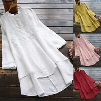 Mode Femme Chemise 100% coton Manche Longue Asymétrique Brodées Haut Shirt Plus