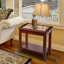 SLEEPLACE NEW Marble End Table with Cherry Wood Finish