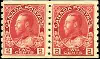 Canada #127 mint F-VF OG NH 1912 King George V 2c carmine Admiral Coil Pair
