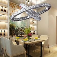 Modern Crystal Pendant Lamp Ceiling Lighting with 2 LED Ring Lights Chandelier