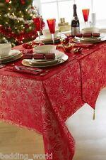 "70"" x 108"" EVE RED GOLD TABLE CLOTH POINSETTIA FLORAL SPARKLE XMAS CHRISTMAS"