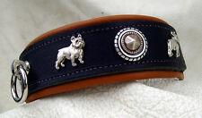 Halsband Französische Bulldogge Leder ist rein pflanzliche gegerbt Neu 4cm breit