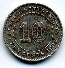 STRAIT SETTLEMENTS 1894 SILVER 10 CENTS