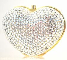 Judith Leiber HEART N Soul white Silver Crystal PillBox GOLD Lieber in BOX