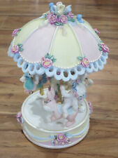 Vintage 1998 Large Dreamsicles Musical Floral Carousel #10596 Nice Collectible +