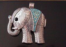 1 Large Tibetan Silver Animal Elephant Blue Rhinestones Charm Pendant TSC112