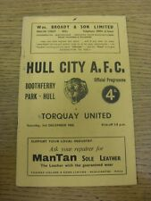 03/12/1960 Hull City v Torquay United  (Score Noted On cover, Small marks, Rusty