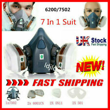 3M 6200/7502 Shield Filter 7in1 Respirator Facepiece Work Spray Paint Gas Safety