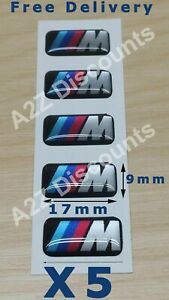 5 BMW M Sport Alloy Wheel Decals Sticker Badges - Domed Gloss Finish  17mm x 9mm