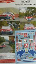 DÉCALS 1/43 réf 633 Citroën Xsara Wrc Loeb 1er San Rémo 2003