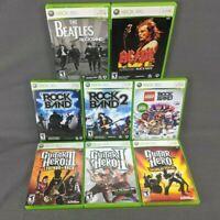 Guitar Hero II III World Tour Rock Band 1 2 ACDC Beatles Lego Xbox 360 LOT of 8