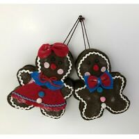 Christmas Ornament Stuffed Large Gingerbread Boy & Girl Set of 2 Holiday Decor