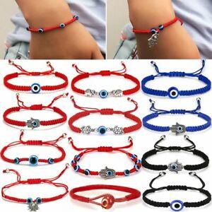Blue Evil Eye Lucky Charms Beaded Red Rope Bracelet Bangle Crystal Handmade Gift