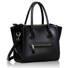 BLACK Faux Leather Smile Shoulder Bag Tote#137