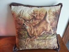 """RUNNING DEER picture pillow - quilted top/envelope enclosure on back 16"""" square"""