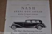 1932 NASH advertisement, Nash Motors Vintage Auto, Ambassador Eight