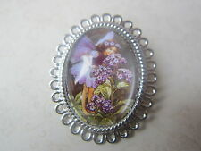 Vintage Silver Plated Purple Flower Fairy Brooch New in Gift Bag Christmas Gift