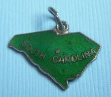 state map sterling charm Vintage enamel South Carolina Sc