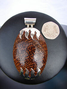 NEW HANDMADE LARGE BROWN WOODEN BURR PENDANT WITH STERLING SILVER 925