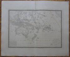 BRUE: Large Map Pacific Australia New Zealand Hawaii - 63 x 53 cm - 1834