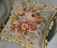 "16"" Square Wool Aubusson Needlepoint Pillow Sham Rose Floral Tassel Handmade New"
