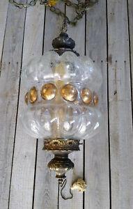 Vintage Mid Century Retro Hanging Crackle Glass Gold Dot Pendant Lamp Light