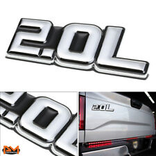 """2.0L"" Polished Metal 3D Decal Silver&Black Emblem For Ford/BWM/Volkswagen/Audi"