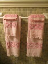 Vintage Jc Penney 6pc Towel Set Pink Floral Fringe 2 Bath 2 Hand 2 Washcloth Usa