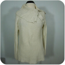GAP Women's Knit Sweater, Ivory Turtleneck with Buttons, size L