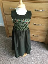 Girls Cord Smock Dress with Hand Embroidered Flowers