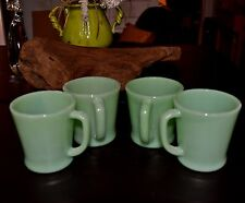 Fire King Jadite/Jadeite Philbe Wanna Be Rolled Base D Handle Cup Mugs Set of 4