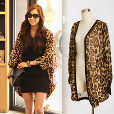 Long Sleeve Leopard Print Batwing Blouse For Women Chiffon Top Loose Shirts