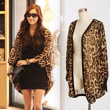 Long Sleeve Leopard Print Batwing Blouse For Women Chiffon Top Loose Shirts
