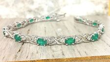 HEAVY 14K WHITE GOLD OVAL EMERALD AND ROUND DIAMOND TENNIS BRACELET BRIDAL 6.00C