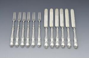 Fine Set Of 6 Victorian Sterling Silver Dessert Knives & Forks
