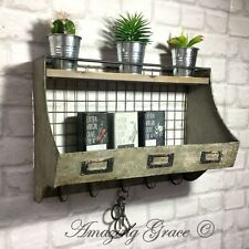 Vintage Industrial Style Metal Wall Shelf Unit Storage Display Cabinet Hooks
