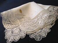 #4071🌟BREATHTAKING Vintage Swiss Spun Rayon Antique White Netlace Wedding Hanky
