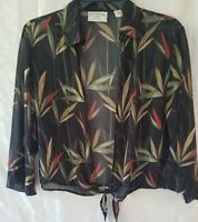Banana Bay womens size M tropical print sheer open cropped top pre owned good