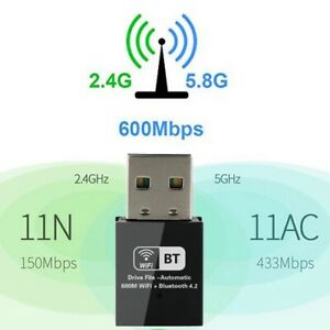 600Mbps WiFi Dongle and Bluetooth 4.2 For PC Laptop Dual Band USB Adapter New UK